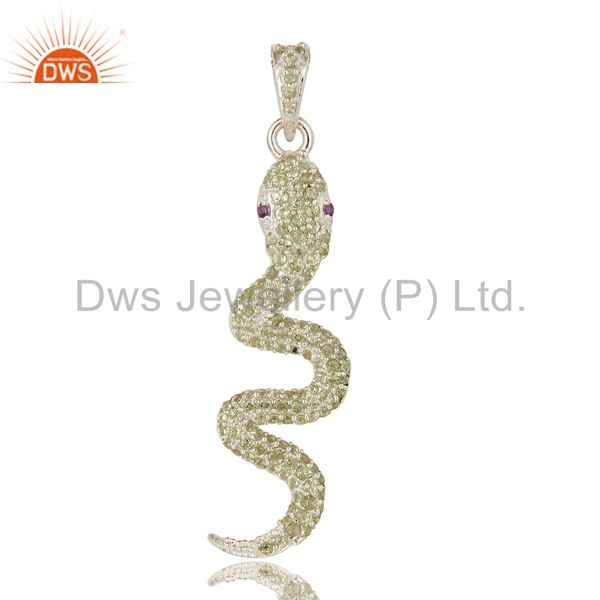 Peridot And Amethyst Gemstone Cluster Snake Design Pendant In Sterling Silver