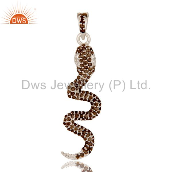 Smokey and white topaz gemstone cluster snake design pendant in sterling silver