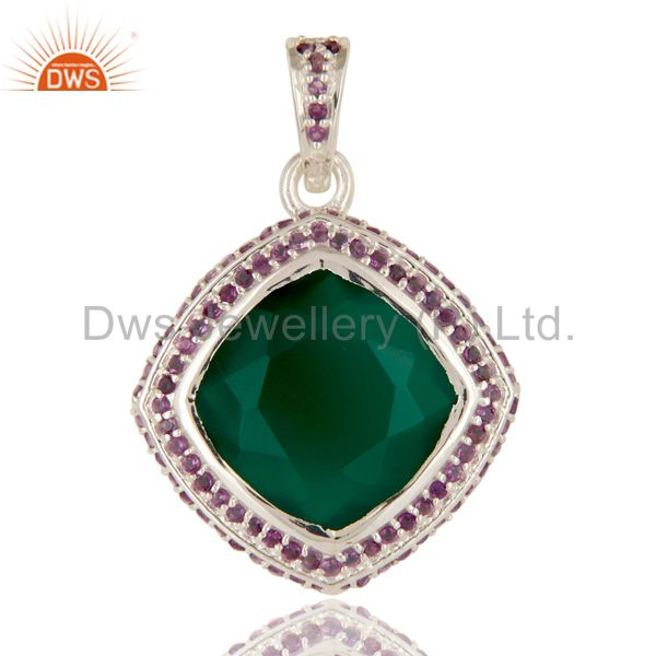 925 Sterling Silver Amethyst And Green Onyx Cushion Cut Fine Gemstone Pendant