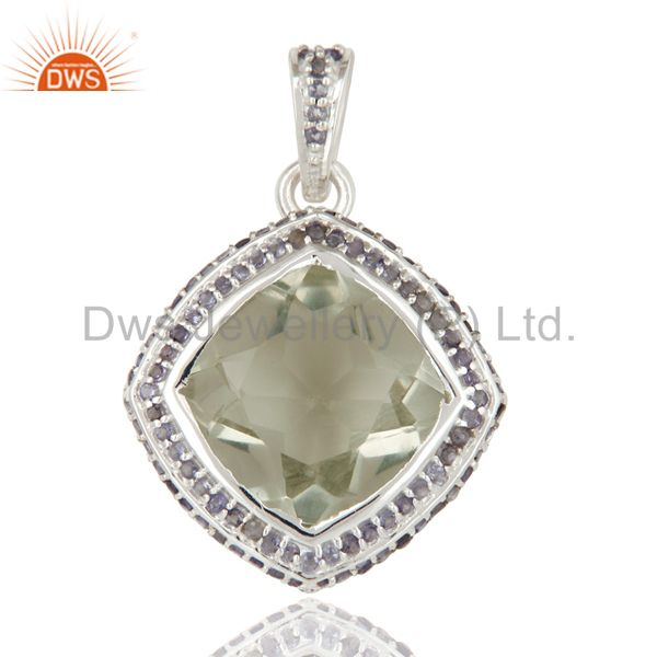 925 Sterling Silver Green Amethyst And Iolite Gemstone Cluster Pendant