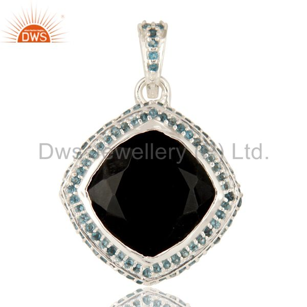 925 sterling silver black onyx cushion cut and blue topaz gemstone pendant