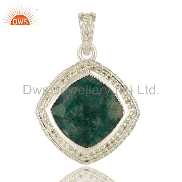 925 Sterling Silver Green Corundum And Peridot Gemstone Pendant