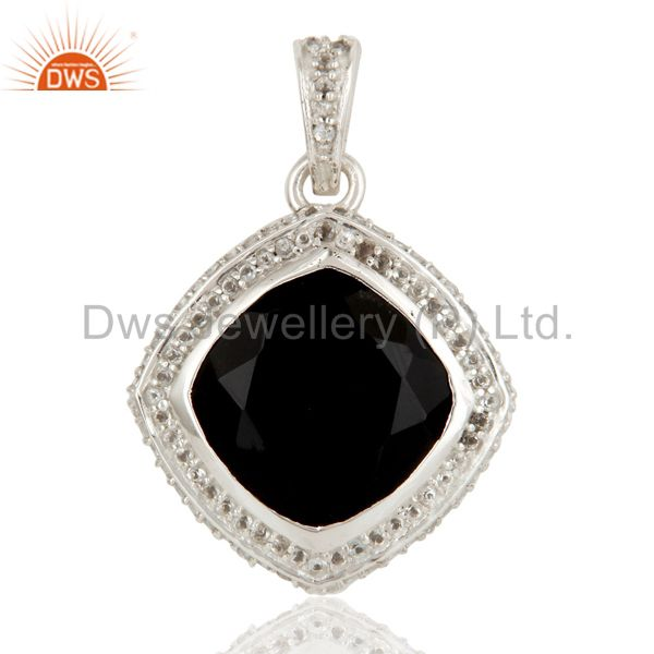925 Sterling Silver Black Onyx and White Topaz Gemstone Pendant
