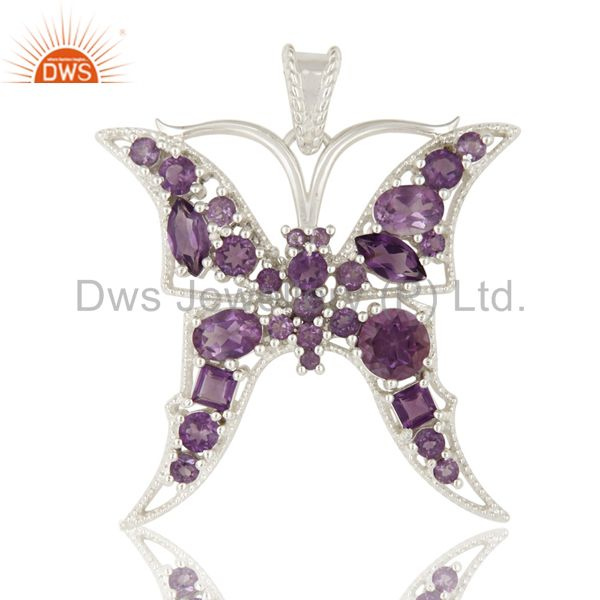 925 Sterling Silver Natural Amethyst Gemstone Butterfly Designer Pendant Jewelry