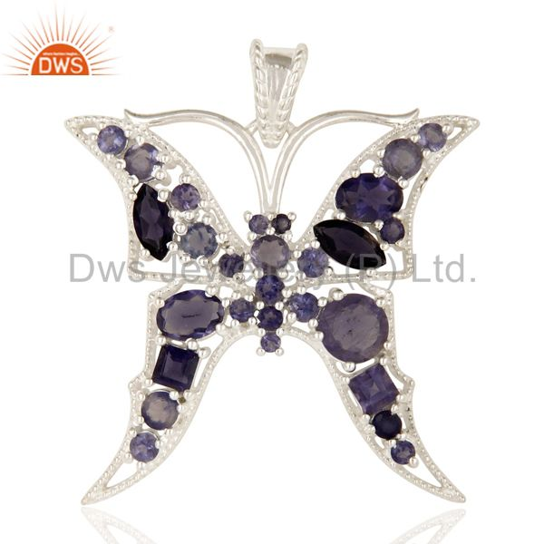 925 Sterling Silver Iolite Gemstone Butterfly Designer Cluster Pendant Jewelry