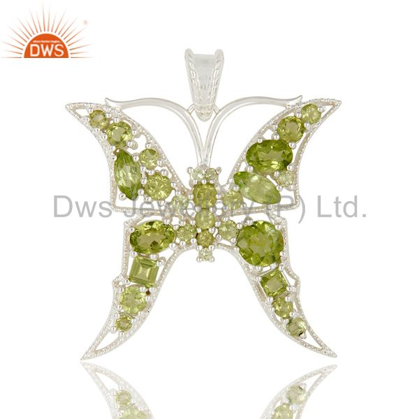 925 Sterling Silver Prong Set Peridot Gemstone Butterfly Designer Pendant