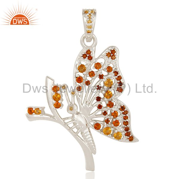 Natural Citrine Gemstone Sterling Silver Designer Butterfly Pendant Jewelry