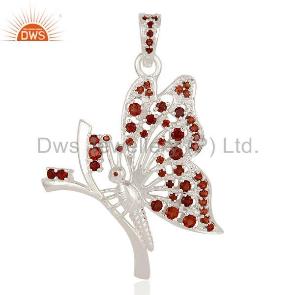 Designer 925 Sterling Silver Natural Garnet Gemstone Butterfly Pendant Jewelry