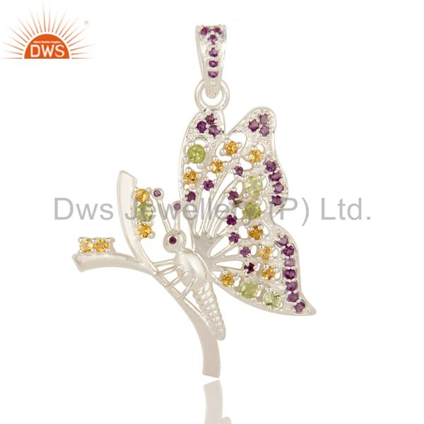 925 Sterling Silver Multi Colored Semi-Precious Gemstone Butterfly Pendant