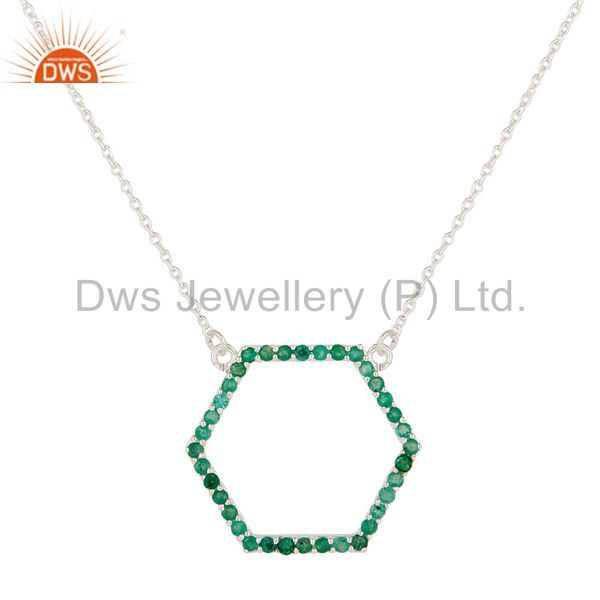 925 Sterling Silver Emerald Gemstone Open Hexagon Pendant With Chain