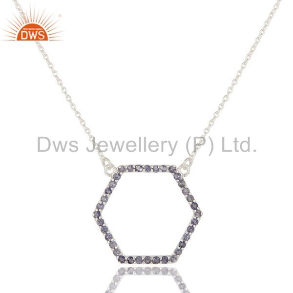 925 Sterling Silver Iolite Gemstone Open Hexagon Pendant Chain Necklace