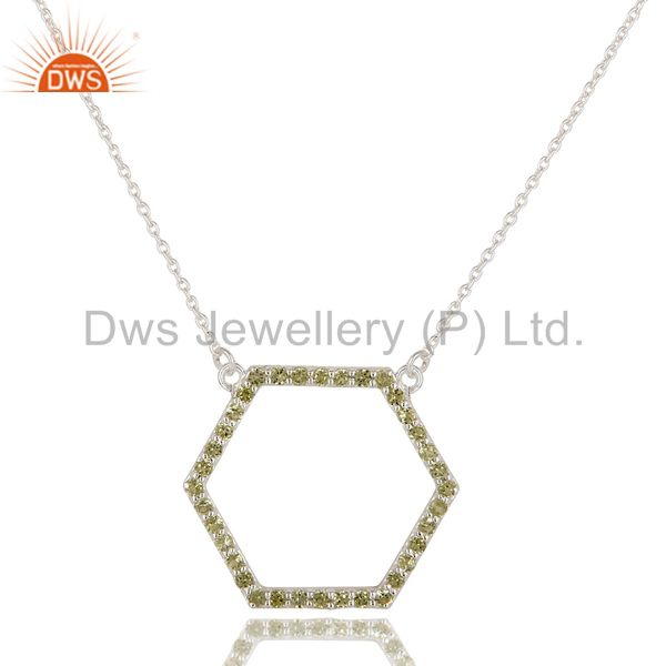 925 Sterling Silver Peridot Gemstone Open Hexagon Pendant With Chain Necklace