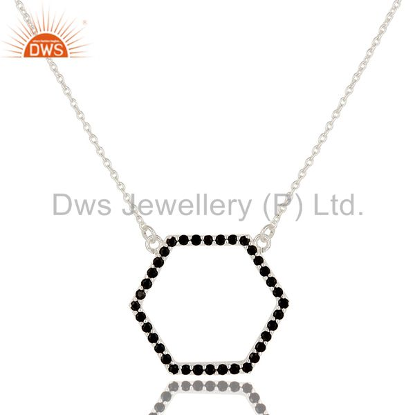 925 Sterling Silver Black Spinel Gemstone Open Hexagon Pendant Chain Necklace