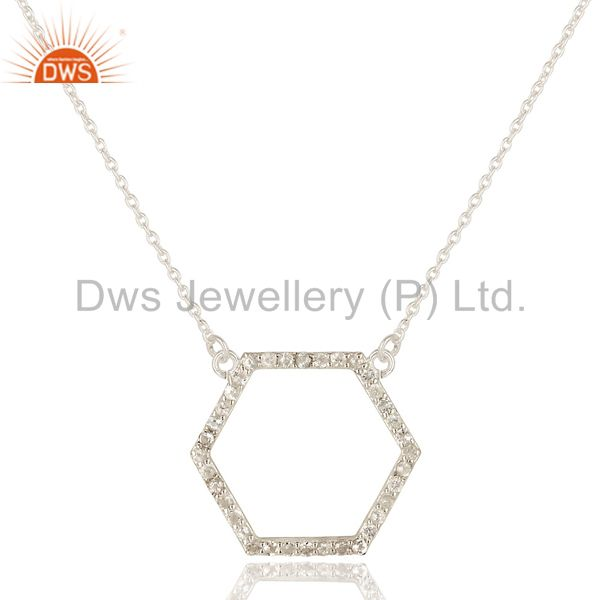 925 Sterling Silver White Topaz Gemstone Open Hexagon Pendant Chain Necklace