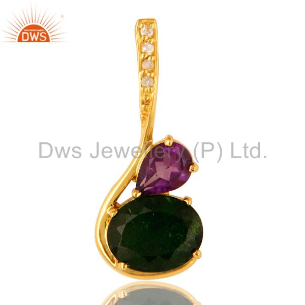 18K Gold Plated Sterling Silver Natural Amethyst And Chrome Dispose Pendant