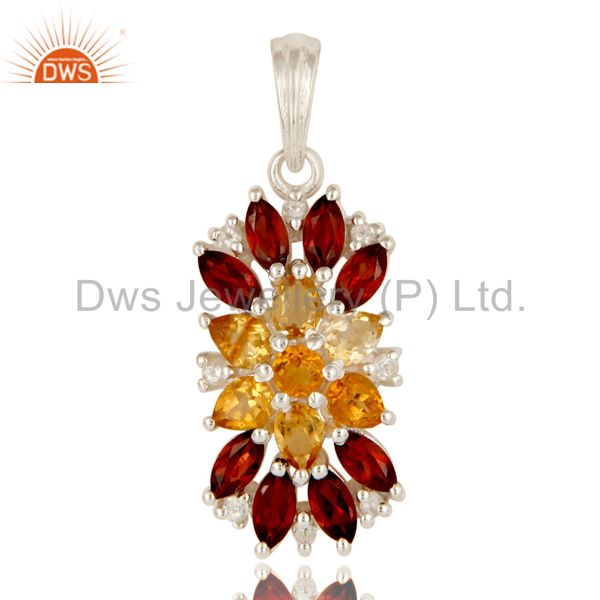 925 Sterling Silver Citrine, Garnet And White Topaz Cluster Pendant Jewelry