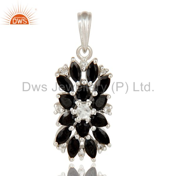 925 Sterling Silver Natural Black Onyx And White Topaz Gemstone Cluster Pendant