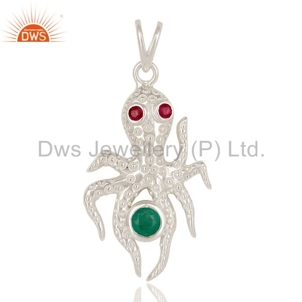 Emerald and ruby gemstone sterling silver octopus pendant with chain