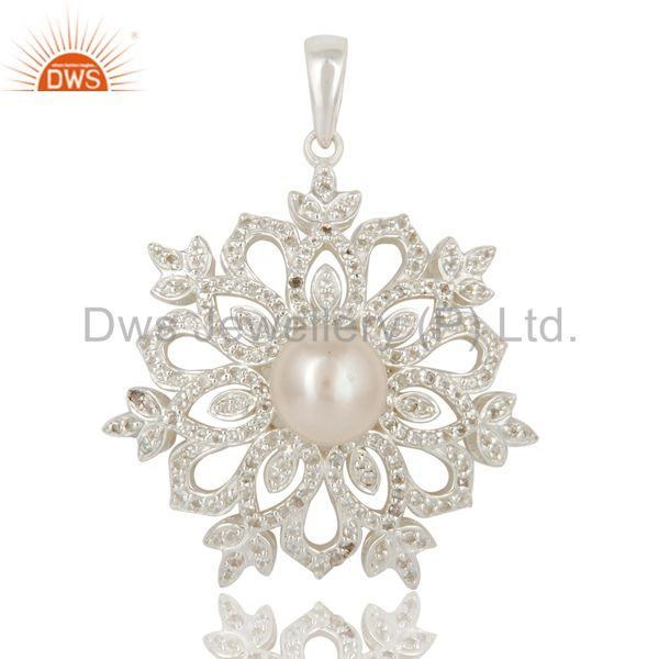 Pearl and white topaz sterling silver designer flower pendant fine jewelry