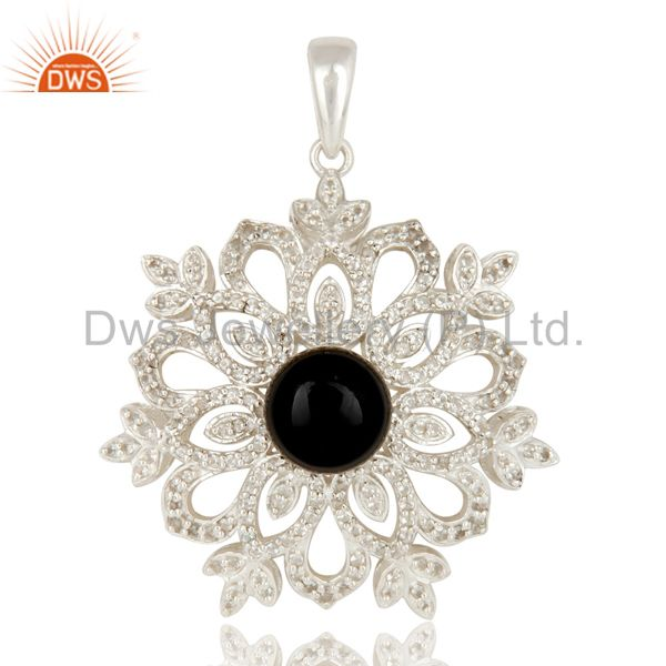 Black Onyx and White Topaz Sterling Silver Designer Flower Pendant Fine Jewelry