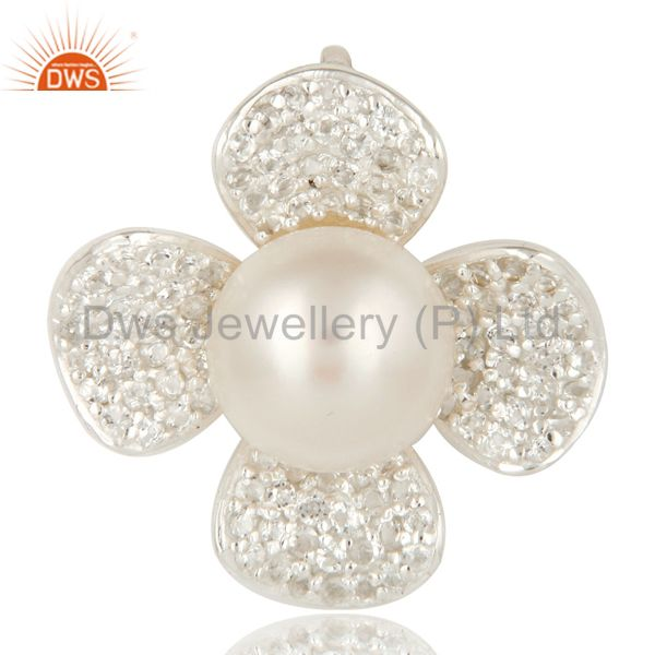 925 Sterling Silver Natural Pearl And White Topaz Designer Flower Pendant