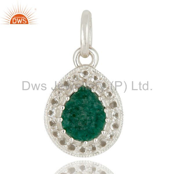 925 Sterling Silver Emerald And White Topaz Gemstone Drop Pendant