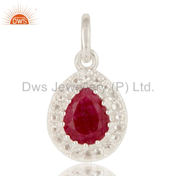 925 Sterling Silver Red Corundum And White Topaz Gemstone Drop Pendant