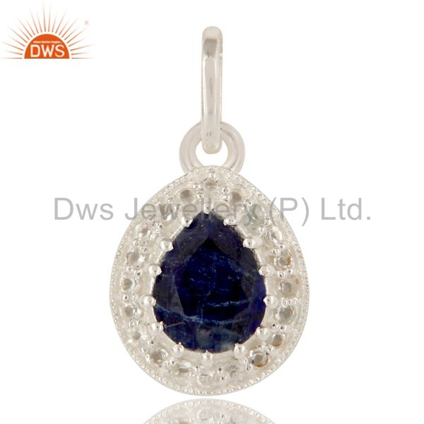 925 Sterling Silver Blue Corundum And White Topaz Gemstone Drop Pendant