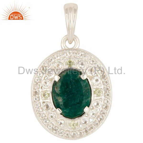 Green Corundum, Peridot And White Topaz Solid Sterling Silver Pendant