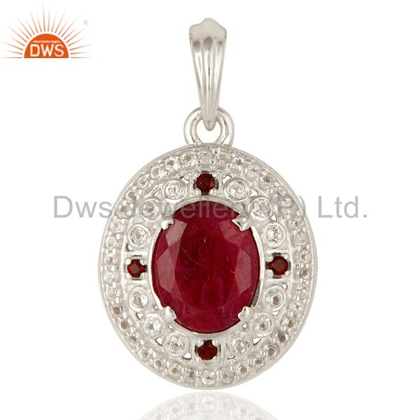 925 Sterling Silver Ruby Corundum, Garnet And White Topaz Gemstone Pendant