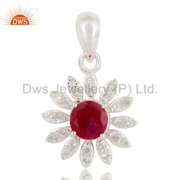 925 Sterling Silver Ruby Red Corundum And White Topaz Designer Pendant