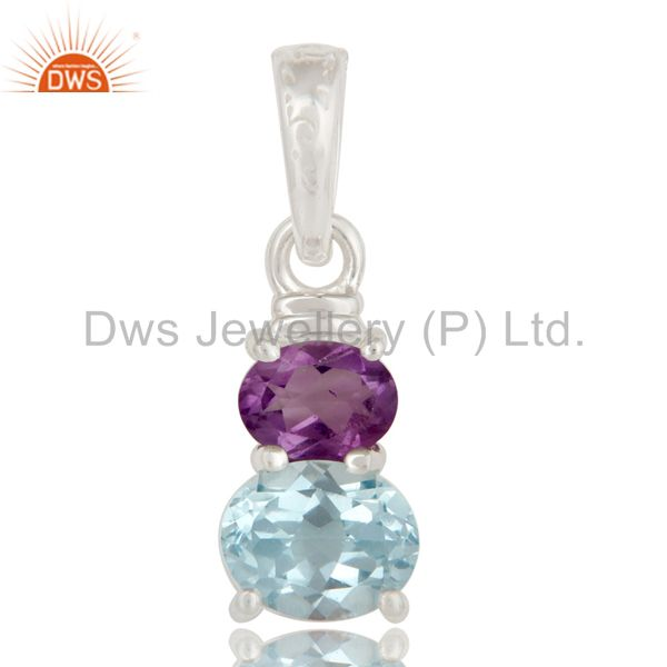 925 Sterling Silver Purple Amethyst And Blue Topaz Prong Set Gemstone Pendant
