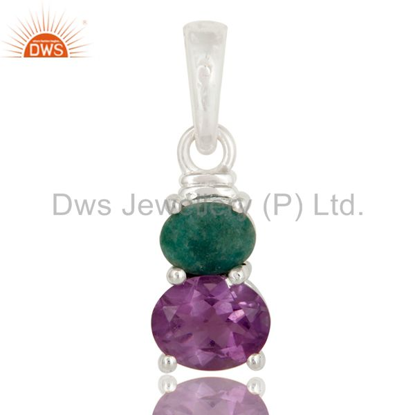 925 Sterling Silver Purple Amethyst And Green Emerald Gemstone Pendant