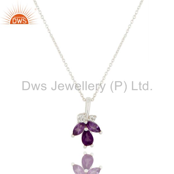Amethyst and White Topaz Natural Gemstone Sterling Silver Pendant with Chain