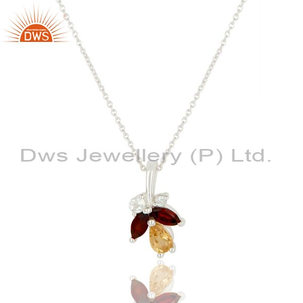 Natural Citrine, Garnet & White Topaz 925 Sterling Silver Chain Pendant Necklace