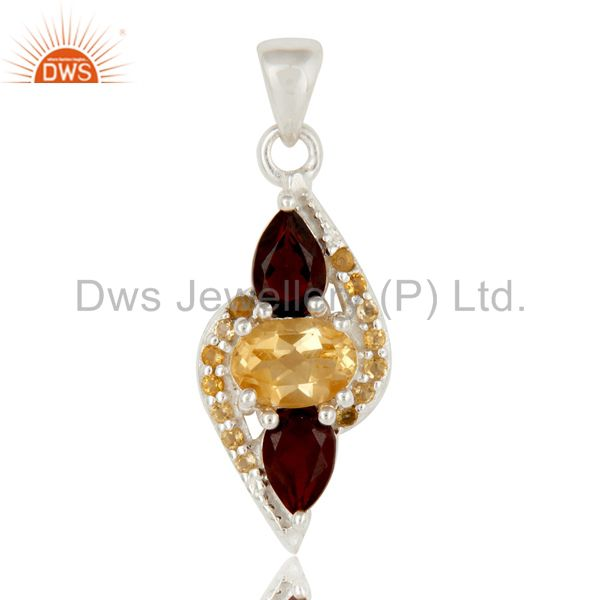 Citrine and Garnet Sterling Silver Fine Gemstone Pendant Jewelry