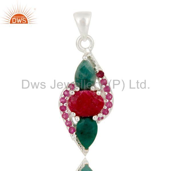 925 Sterling Silver Ruby And Emerald Gemstone Prong Set Designer Pendant