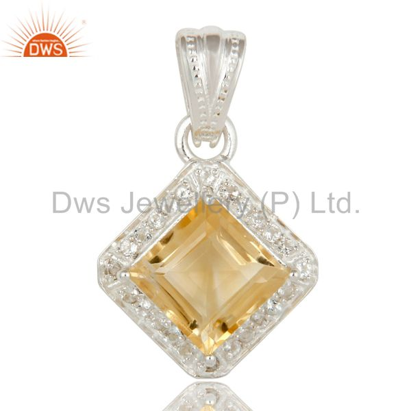 Natural Citrine And White Topaz Sterling Silver Gemstone Designer Halo Pendant