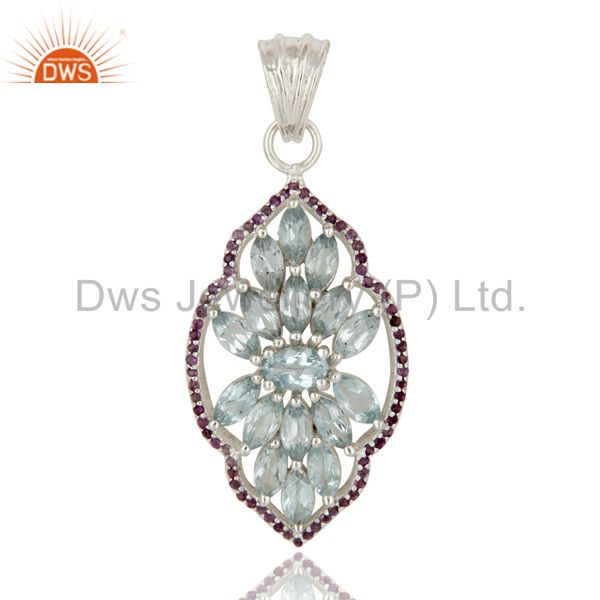 Blue Topaz and Amethyst Sterling Silver Gemstone Pendant Necklace Jewelry
