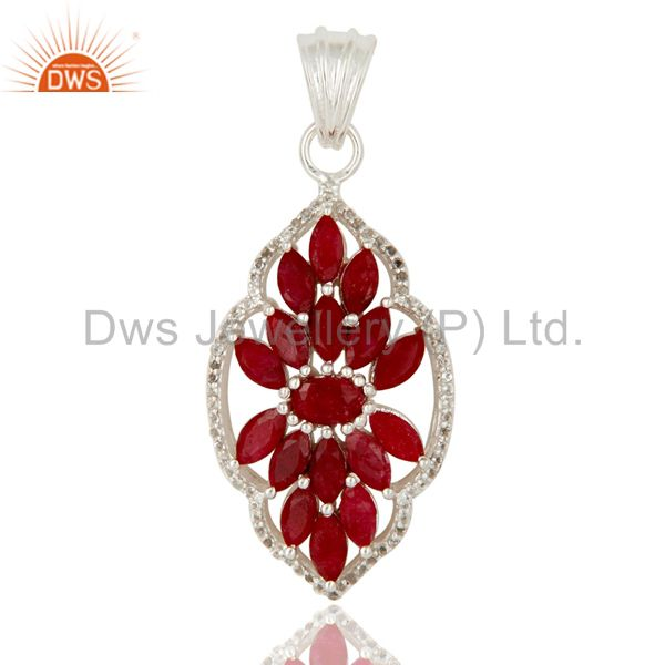 Ruby and White Topaz Sterling Silver Gemstone Pendant Necklace Jewelry