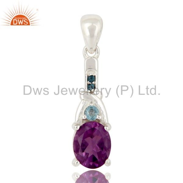 Genuine Amethyst and Blue Topaz Sterling Silver Pendant