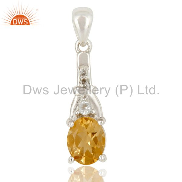 Citrine and White Topaz 925 Sterling Silver Pendant Birthstone Jewelry