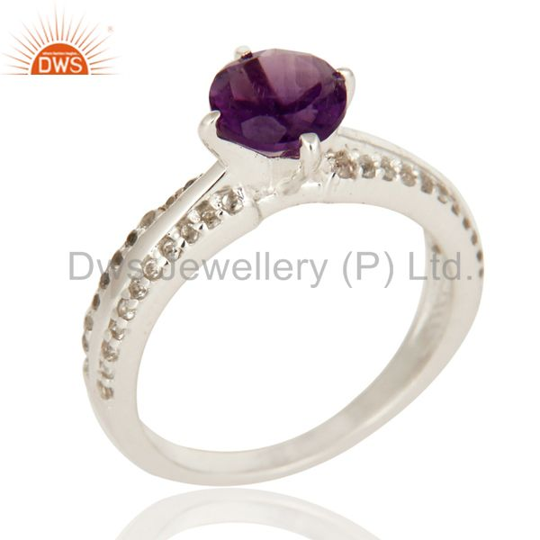 Natural Amethyst And White Topaz Halo Ring In Solid 925 Sterling Silver