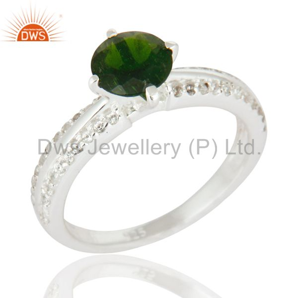 Sterling Silver Chrome Diopside & White Topaz Halo Engagement Ring Fine Jewelry