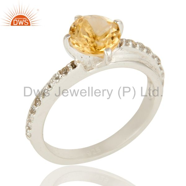 925 Sterling Silver Natural Citrine And White Topaz Halo Engagement Ring