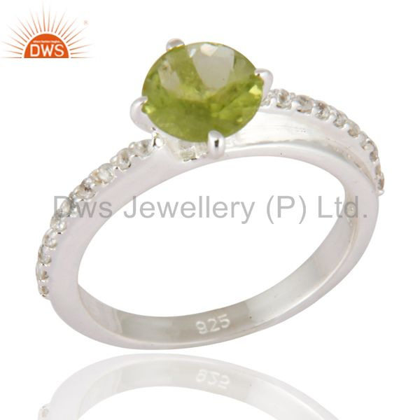 Peridot & White Topaz Halo Gemstone Engagement Solitaire Ring in Sterling Silver