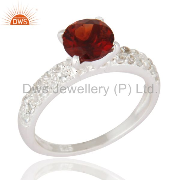 925 Sterling Silver Genuine Gemstone Garnet Solitaire Ring With White Topaz Halo
