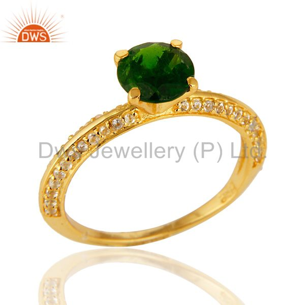 14K Yellow Gold Over Sterling Silver Chrome Diopside & White Topaz Halo Ring