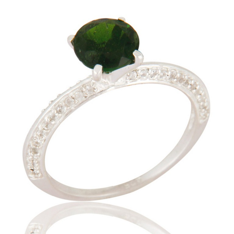 925 Sterling Silver Chrome Diopside And White Topaz Womens Halo Ring