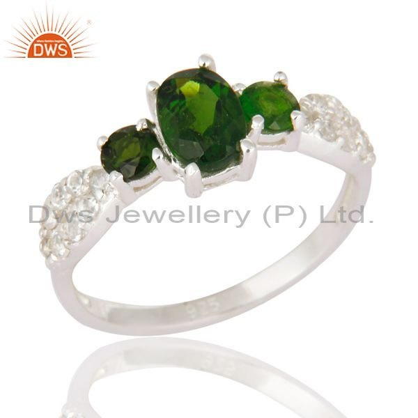 Chrome Diopside Gemstone & White Topaz Ladies Halo Ring In 925 Sterling Silver